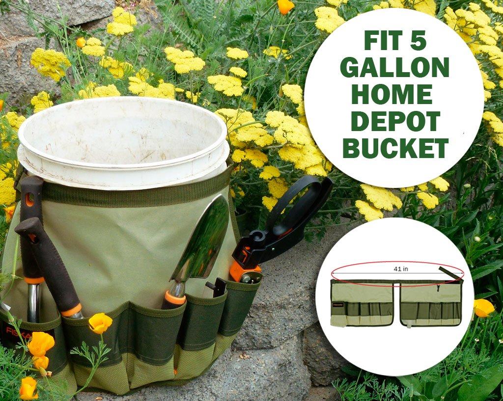Práctico cubo Caddy para cubo de 5 galones Home Depot | nuevo diseño Militar grado 600d Oxford gamuza jardinería organizador Caddy con 10 bolsillos para 13, ...