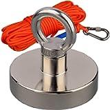 Mutuactor Fishing Magnet 700LBS Vertical Pull-Force 66Feet Orange Rope Recovery Salvage N52 Neodymium Magnet…