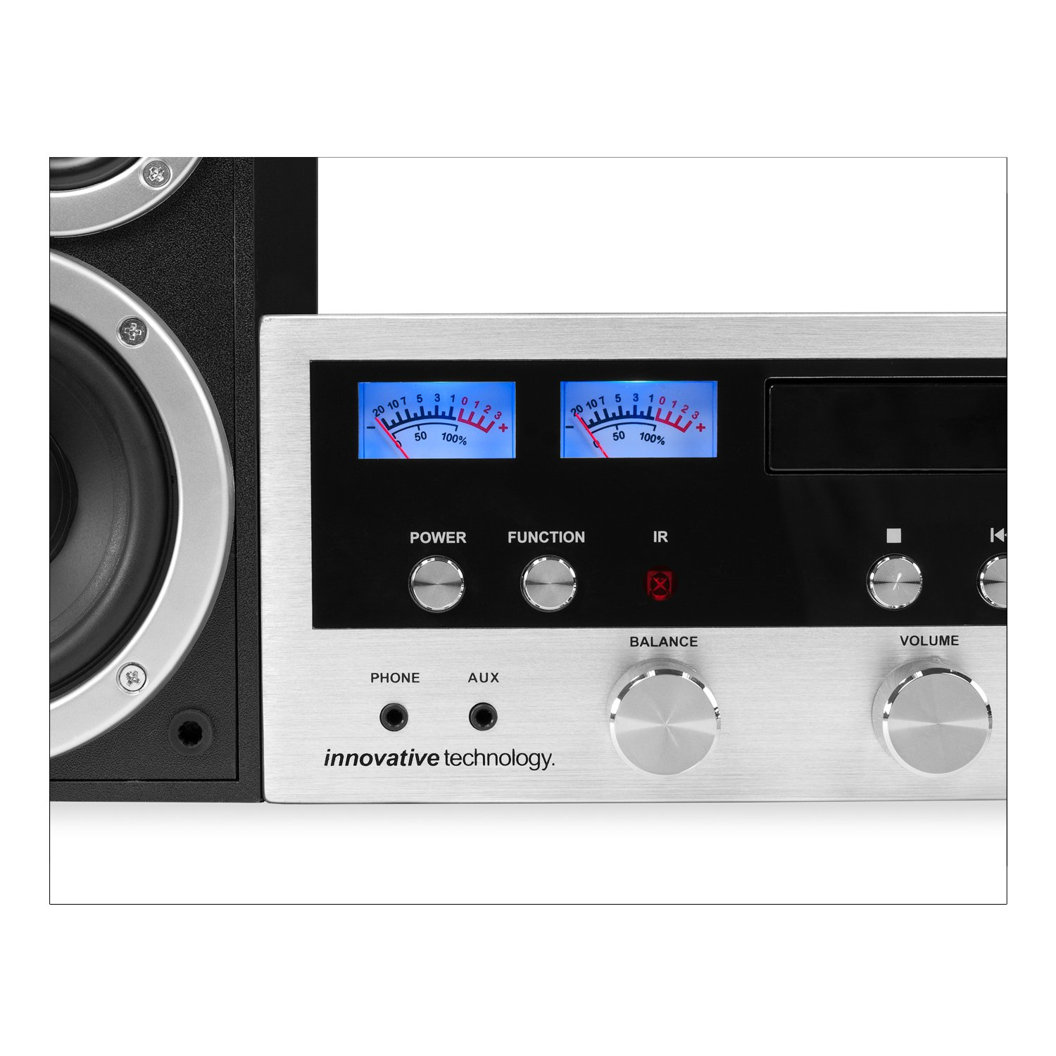 Amazon.com: Innovative Technology Classic Retro Bluetooth Stereo System  with CD Player, FM Radio, Aux-In, and Headphone Jack, Silver and Black: IT  ITCDS5000 ...