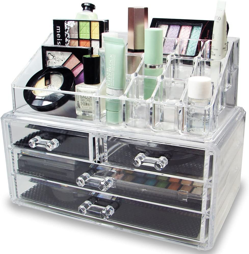 DECO EXPRESS Premium Make-up Jewelry Cosmetic Organiser 4 Tier Makeup Organizer Display Vanity Case Stand Large