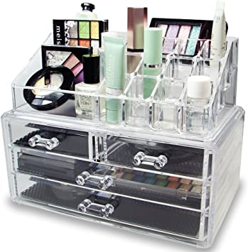 DECO EXPRESS Maquillaje Organizador de cosméticos Organizador de Maquillaje de 4 Niveles Exhibición de la vanidad Estuche Grande: Amazon.es: Equipaje