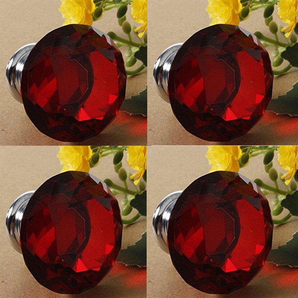 CSKB Black 2PCS 40mm Diamond Crystal Glass Kitchen Cabinet Door Cupboard Knob Pull Handle Drawer +Screw