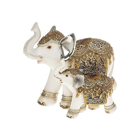 GOLD SILVER WHITE FILIGREE ELEPHANT MUM /& BABY ORNAMENT STATURE FIGURINE GIFT