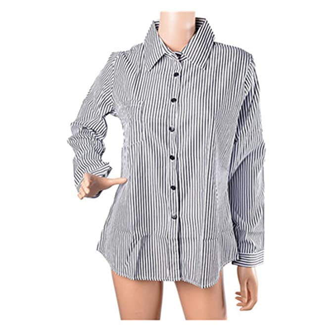 0d874450 Women Striped Long Sleeve Shirt Turn-Down Collar Loose Casual Tops Black  White S
