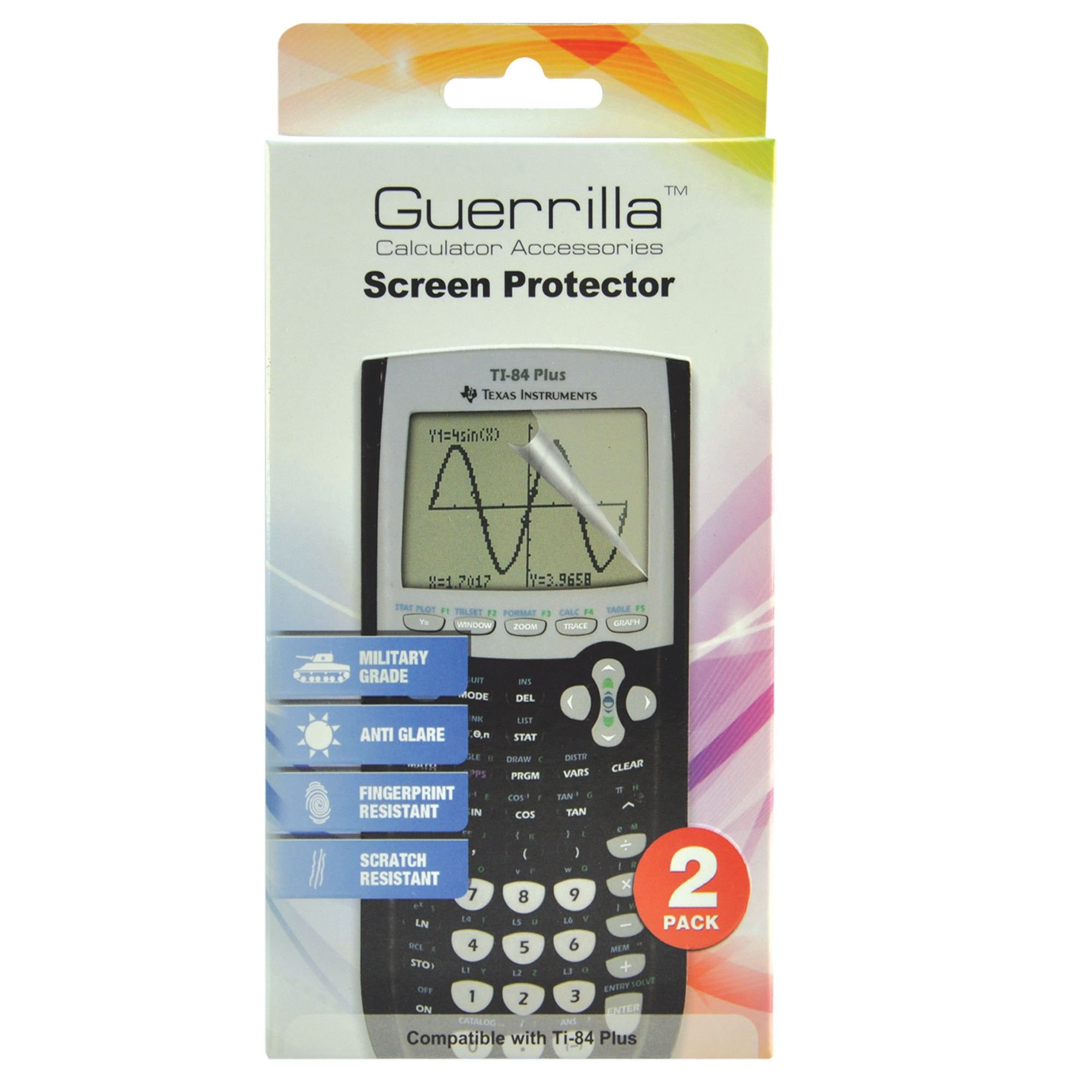 Guerrilla Military Grade Screen Protector 2- Pack For Texas Instruments TI 84 Plus Graphing Calculator