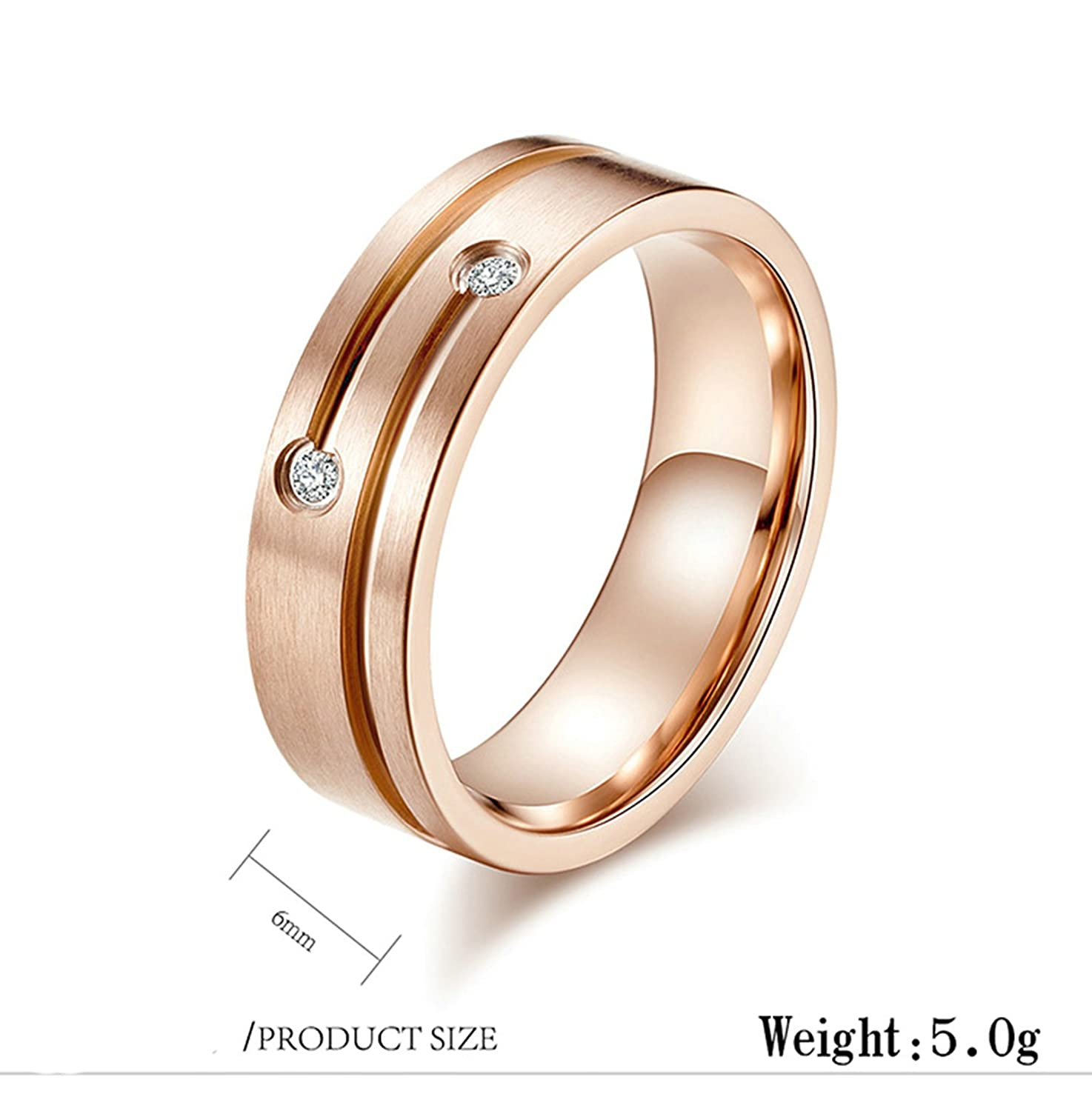 Daesar Titanium Rings for Men and Women Ring Black//Gold//Rose Gold Round Cubic Zirconia 6MM//8MM Friendship Ring Punk Gothic Ring