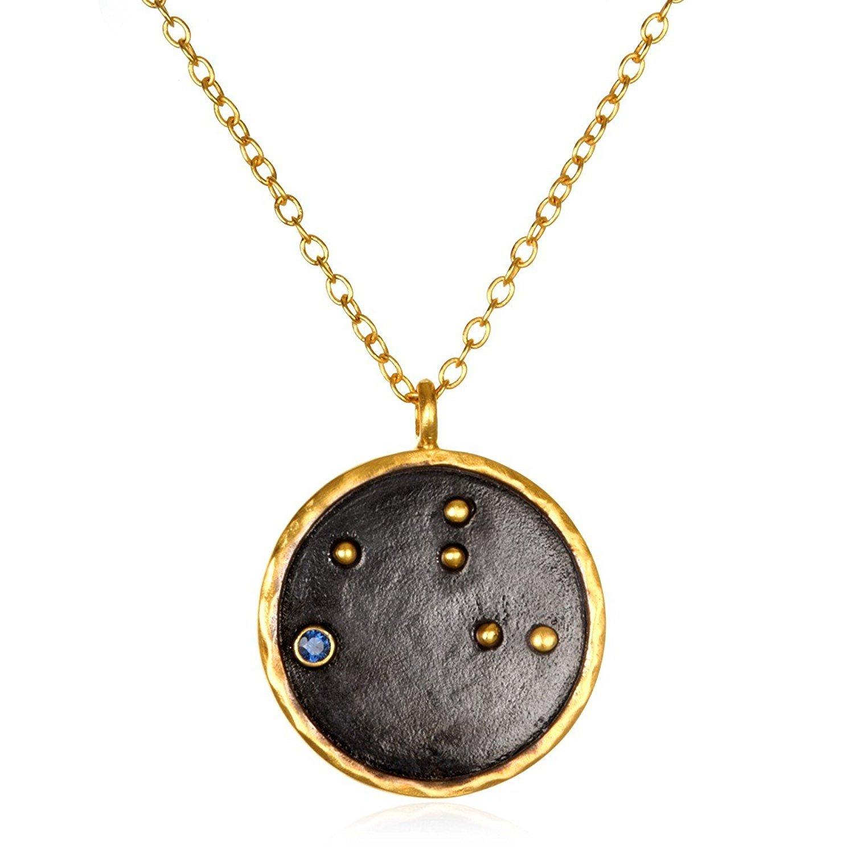 Satya Jewelry Zodiac Gold-Plated Sapphire Virgo Constellation Necklace (18-Inch)