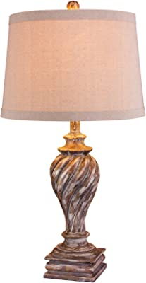 """Cory Martin W-6164ANTBEG Resin Table Lamp, 28"""", Antique Beige"""
