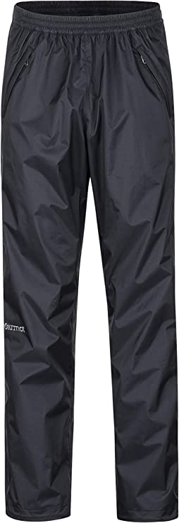 A photo of a rain pants, with garter on waist part, black color.