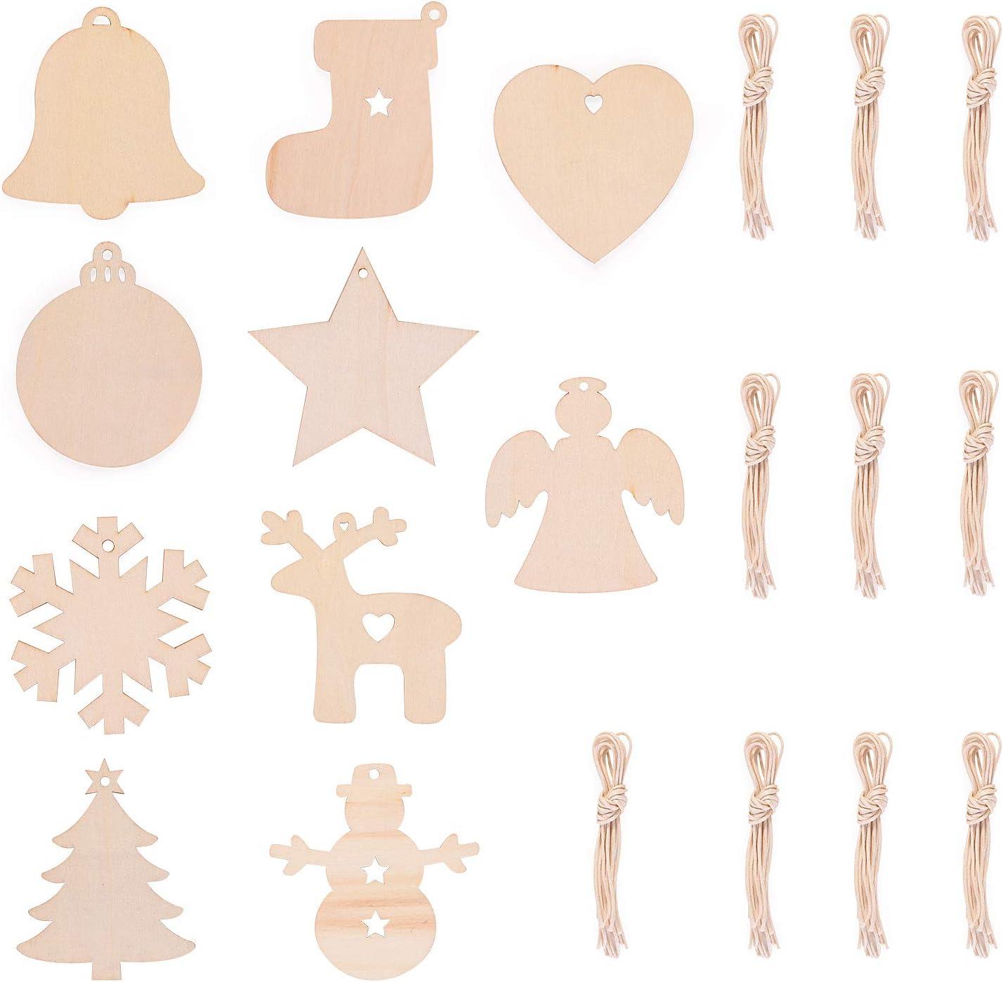 100 pcs EKKONG 100 Pezzi Decorazioni Albero di Natale in Legno,Decorazioni Albero di Natale,Ciondolo Albero di Natale,Ornamenti di Natale Decorazioni