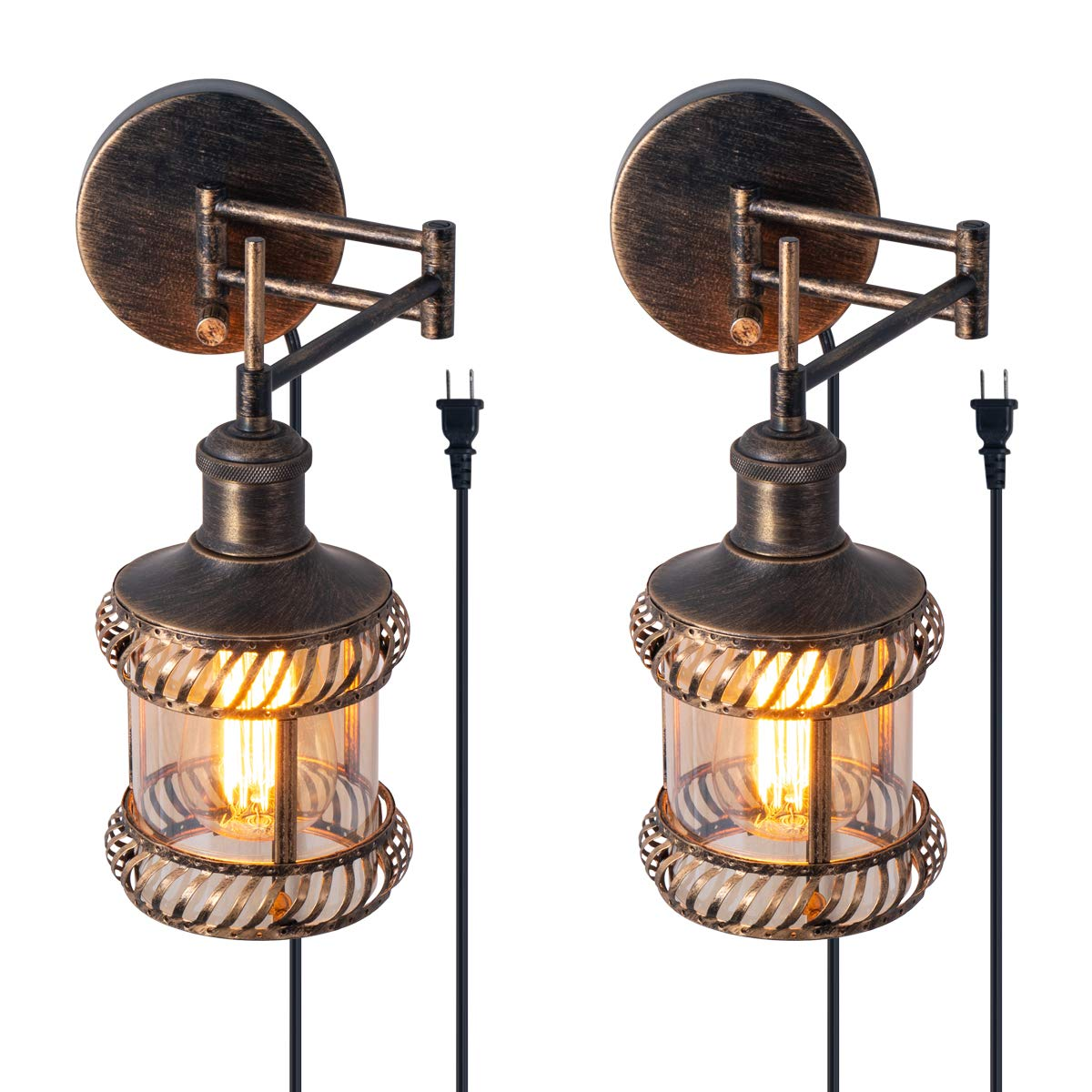 Swing Arm Wall Lamp, 2-in-1 360 Angle Adjustable Industrial Rustic Wall Sconces with Plug in Hardwired ON/Off Switch Glass Shade Retro Iron Wall Light Fixtures for Bedside Bedroom Bathroom Living Room by YISURO