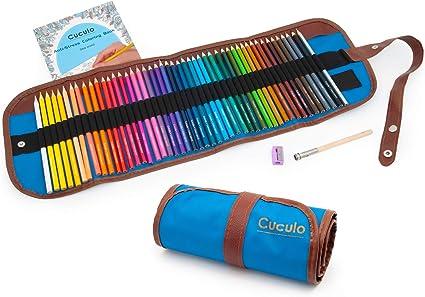 Lápices de colores en estuche enrollable, libro de colorear, 48 lápices, basado en aceite, no tóxico, núcleo suave de 3,5 mm, estuche enrollable, sacapuntas, accesorio de extensión (Azul): Amazon.es: Oficina y papelería