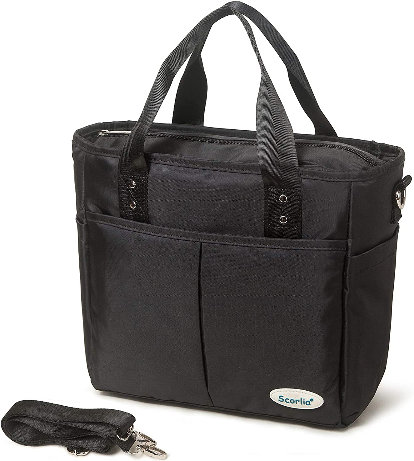 Insulated Lunch Bag, SCORLIA Extra Large Lunch Tote Bag With Removable Shoulder Strap, Durable Reusable Cooler lunch Box Bag with Side Pockets, Tall Drinks Holder for Women Men Work, Black