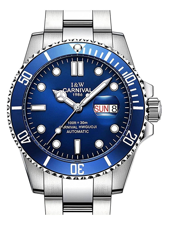 カーニバルWatchメンズビジネスラグジュアリースポーツGMT Automatic Mechanical Watches発光サファイアガラスステンレススチールDiving Watch 39mm シルバーブルー B07CZDKLHW  シルバーブルー