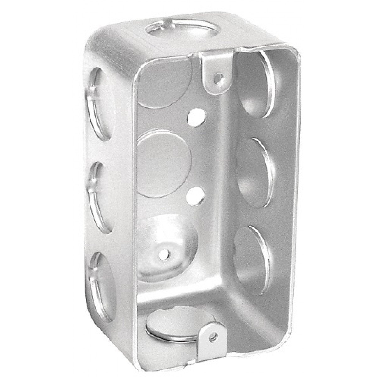 10 Pcs, .0625 Galvanized Steel 1-7/8 In. Deep Handy Utility Box w/(8) 1/2 In. Side Knockouts; (2) 1/2 In. Bottom Knockouts For Power Outlets & Switches to Small Places