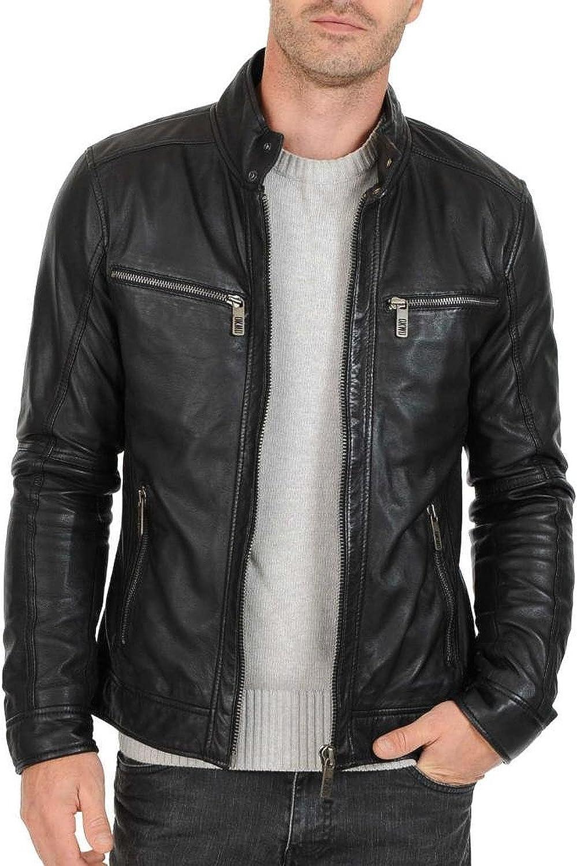 Lasumisura Mens Black Genuine Cowhide Leather Jacket 1510581