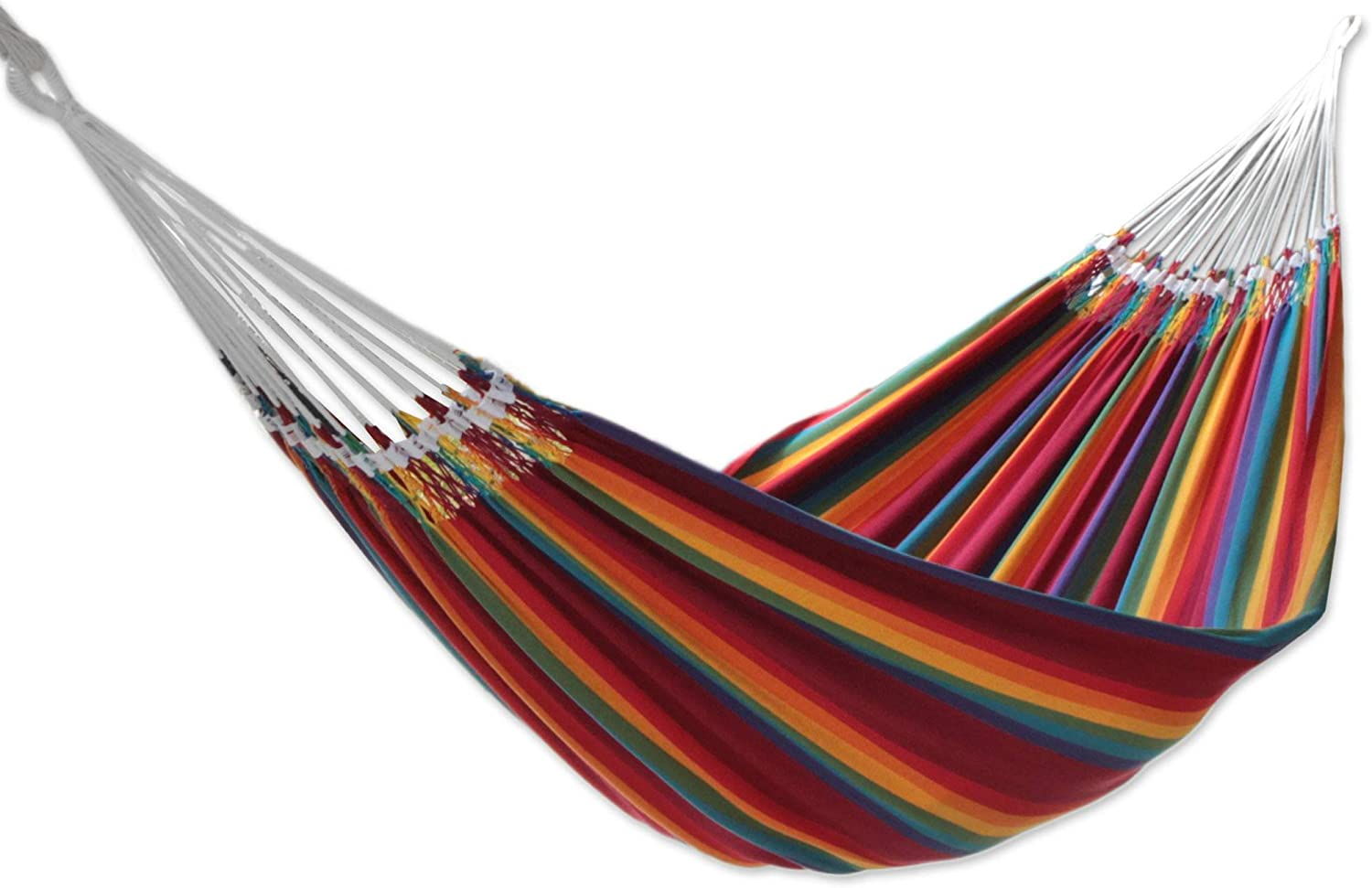 NOVICA Hand Woven Multi-Color Striped Cotton 2 Person Hammock, Brazilian Rainbow double – HAM0010
