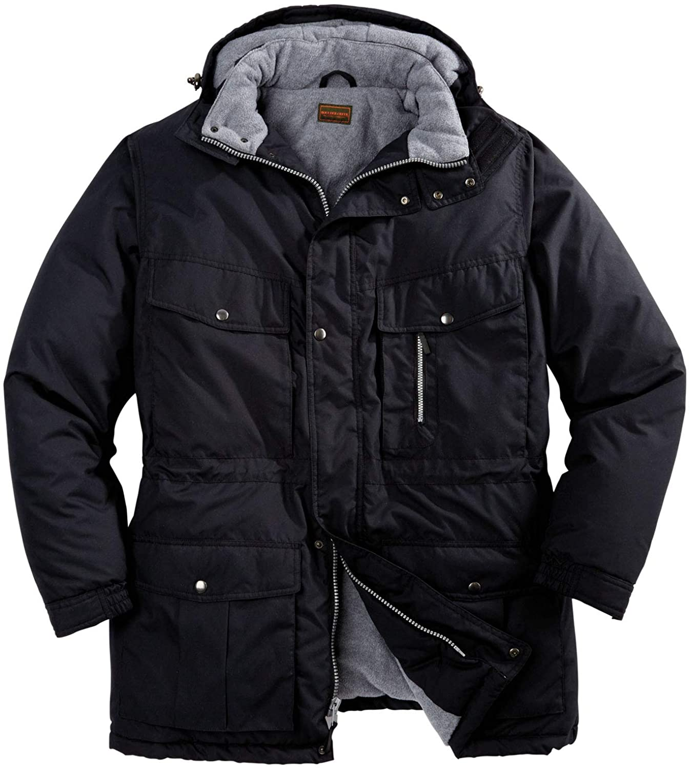 Boulder Creek by Kingsize Men's Big & Tall Fleece-Lined Parka with Detachable Hood and 6 Pockets Coat: Clothing