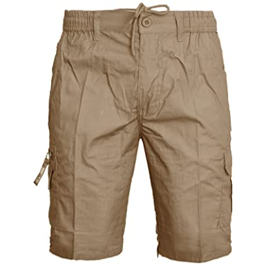 d898a74d58 MENS ELASTICATED CARGO COMBAT PLAIN SHORTS SUMMER COTTON BEACH POCKETS  SZ30-44 M-XXXL: Amazon.co.uk: Clothing