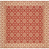 "Safavieh Courtyard Collection CY6550-28 Red and Cream Indoor/ Outdoor Square Area Rug, 7 feet 10 inches Square (7'10"" Square)"
