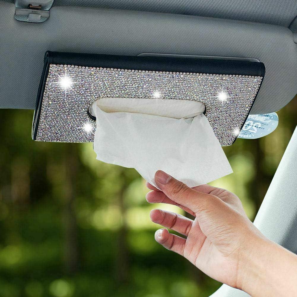Newl Glitzer Tücherbox Für Auto Sonnenblende Pu Leder Taschentuchetui Handgefertigt Glitzernder Kristall Taschentuchhalter Für Damen Auto