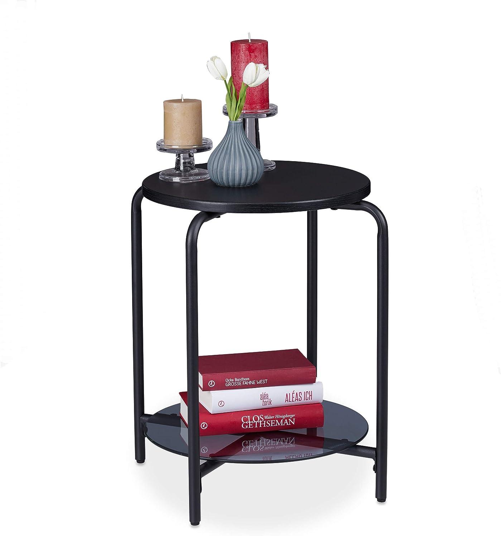 55 x 50 cm Metal-DM-Vidrio Relaxdays Mesa Auxiliar Redonda con Balda de Cristal Negro Mesita de Noche Decorativa
