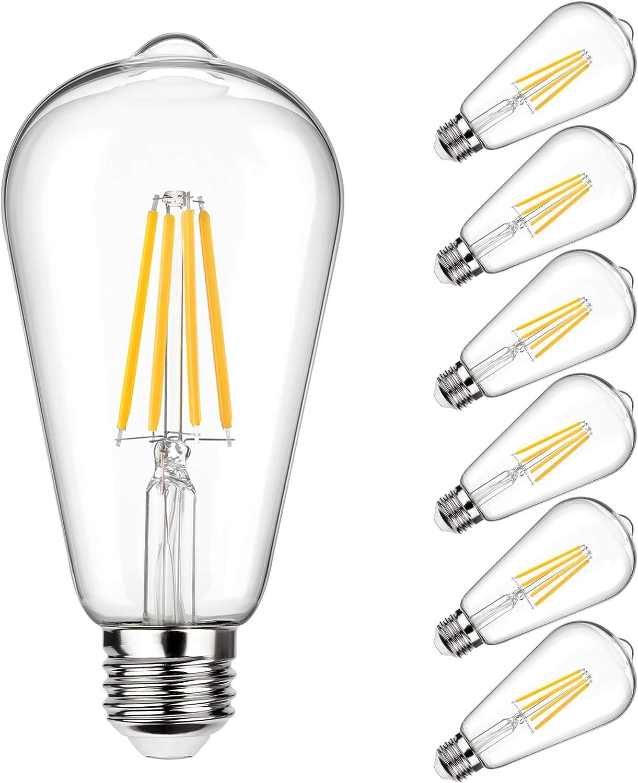Vintage Led Edison Bulb 100w Equivalent 1050 Lumens Dimmable 10w St64 Led Filament Light Bulbs Warm White 2700k Antique Style Lighting E26 Medium Screw Base Pack Of 6 Amazon Com