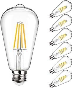 Vintage LED Edison Bulb 100W Equivalent 1050 Lumens, Dimmable 10W ST64 LED Filament Light Bulbs, Warm White 2700K Antique Style Lighting, E26 Medium Screw Base, Pack of 6