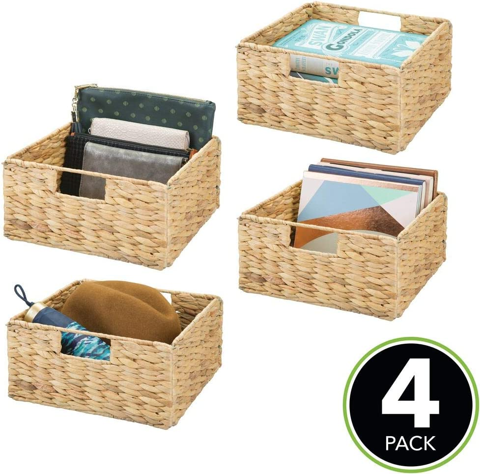 GAIA Rectangular Water Hyacinth Basket with Beveled Edges Choose Your Size New
