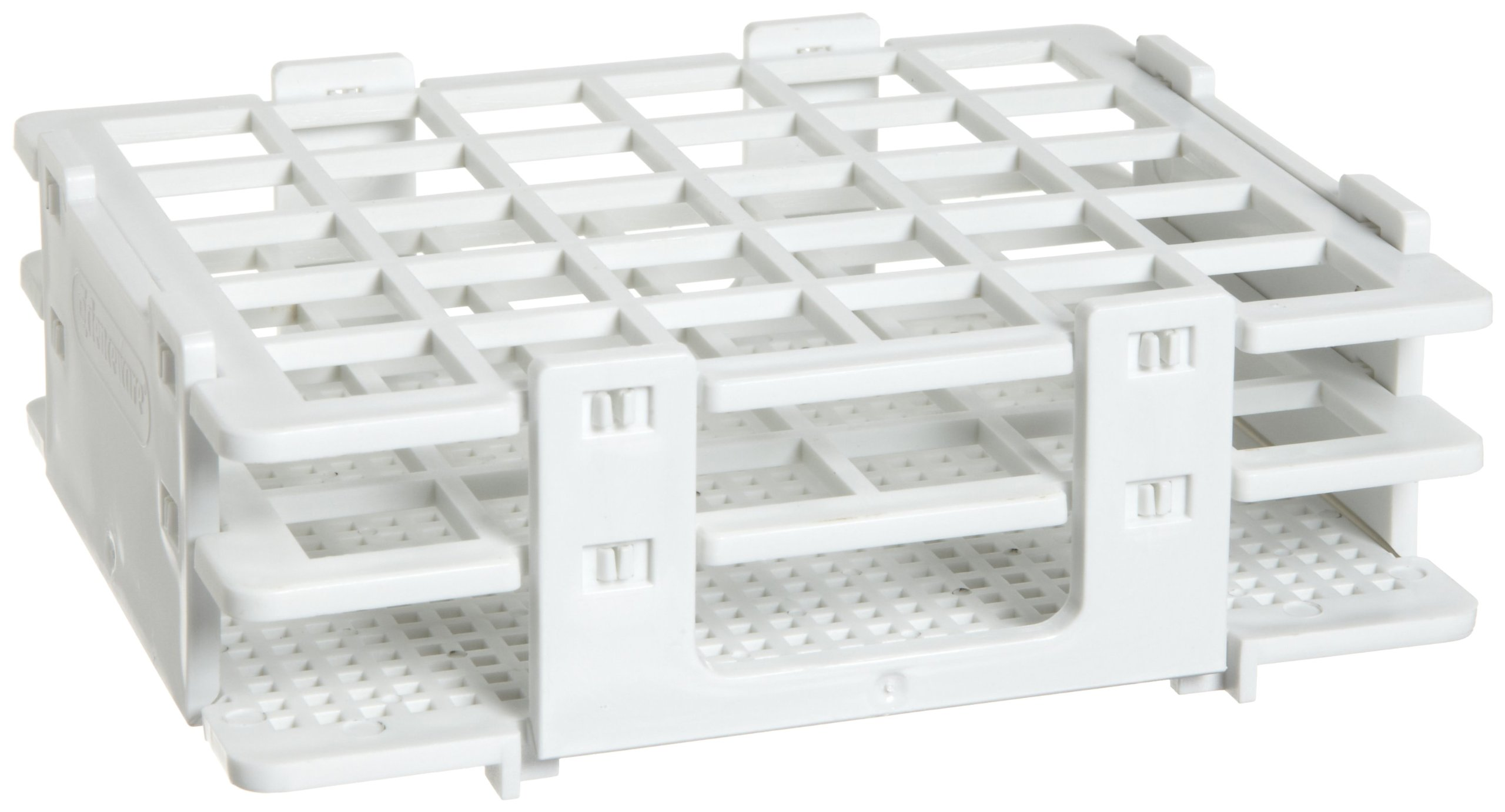 Bel-Art F18748-0016 No-Wire Test Tube Half Rack; 13-16mm, 30 Places, 5.1 x 4.1 x 2.8 in., Polypropylene