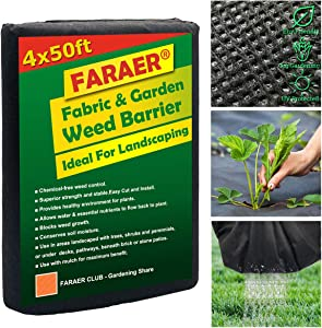 Garden Weed Barrier Fabric, Large 4' x 50' Landscape Fabric Permeable Gardening Mat Weeds Control Ground Cover for Flower Bed, Mulch, Pavers, Edging, Garden Pathway Premium Prevents Weeds Barriers