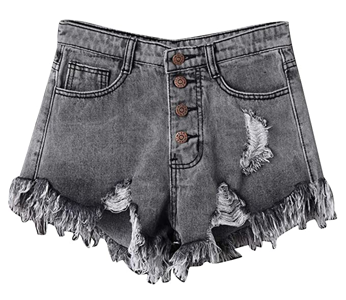 b175089ee0d73 X-Future Women s Plus Size High Waist Summer Cut Off Ripped Denim Shorts  Jeans Hot
