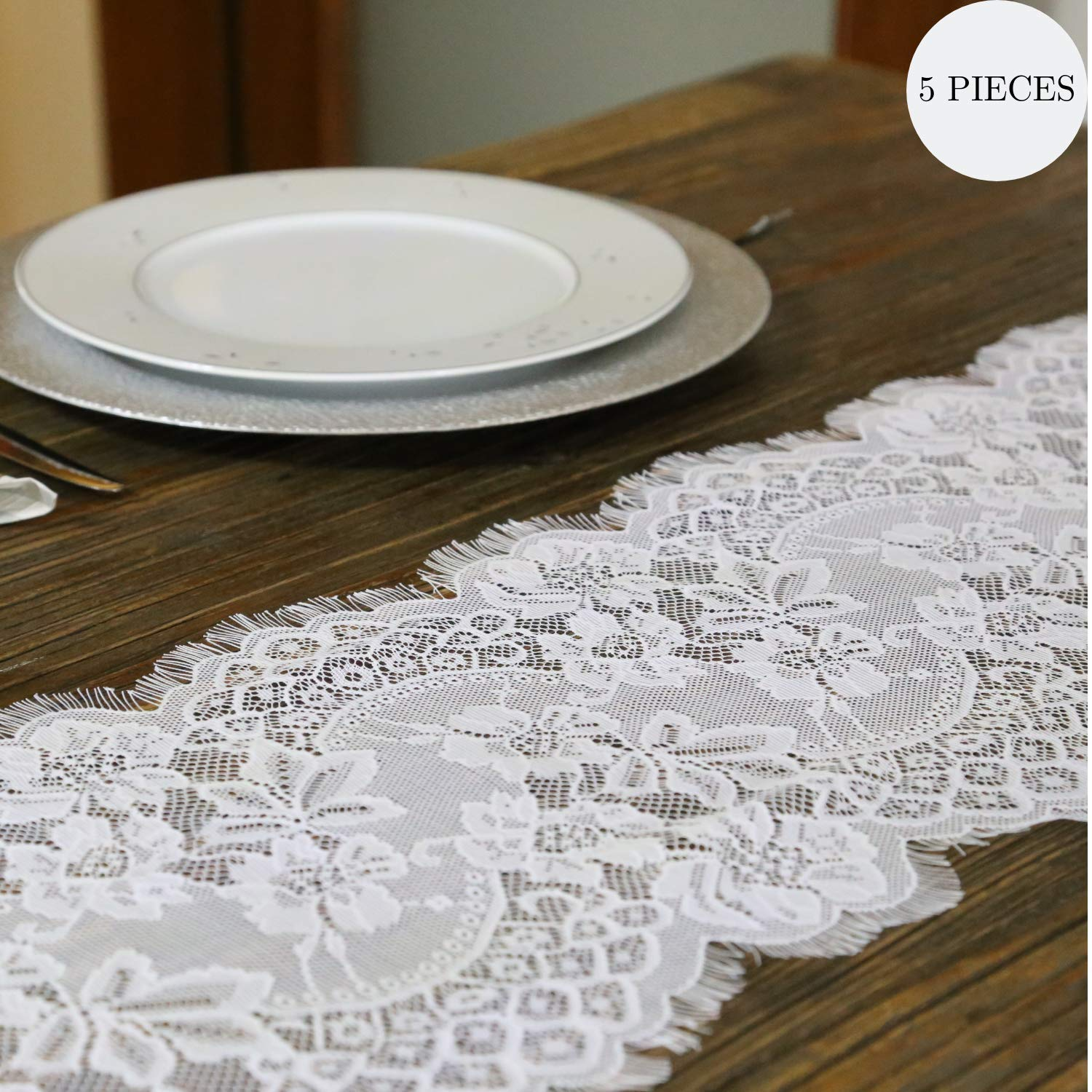 5 Pieces Feminen 20x120 Embroidered Floral Table Runner Vintage White Table Linens Exquisite Romantic Chic Wedding Reception Decoration Farmhouse