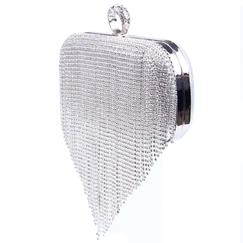 EVEOUT Abend Clutch mit Schimmerndem Kristalldiamant f/ür Damen,Einzigartige Verschlussdamen Partyhochzeits Abschlussballbeutel f/ür Braut Umh/ängetasche aus Satin mit Kette Geschenk f/ür Frauen