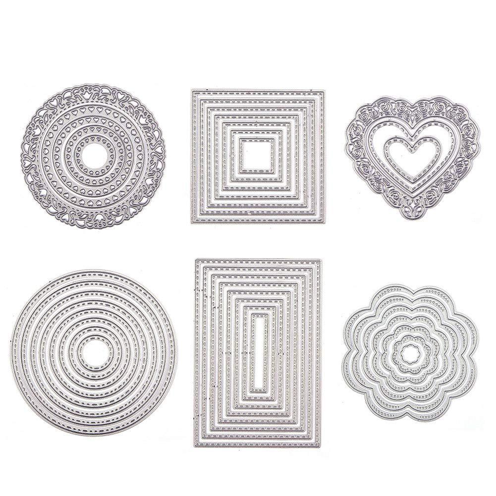 BENECREAT 6 Sets Cutting Dies Cut Metal Scrapbooking Stencils Nesting Die for DIY Embossing Photo Album Decorative DIY Paper Cards Making - Love Heart, Flower, Snowflake