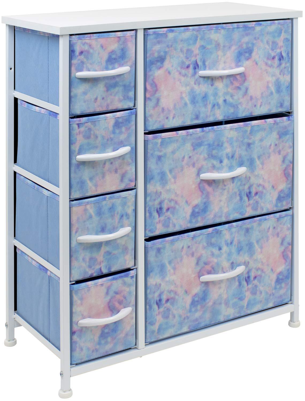 Sorbus Dresser with 7 Drawers - Furniture Storage Chest for Kid's, Teens, Bedroom, Nursery, Playroom, Clothes, Toys - Steel Frame, Wood Top, Fabric Bins (Pastel Tye-die)