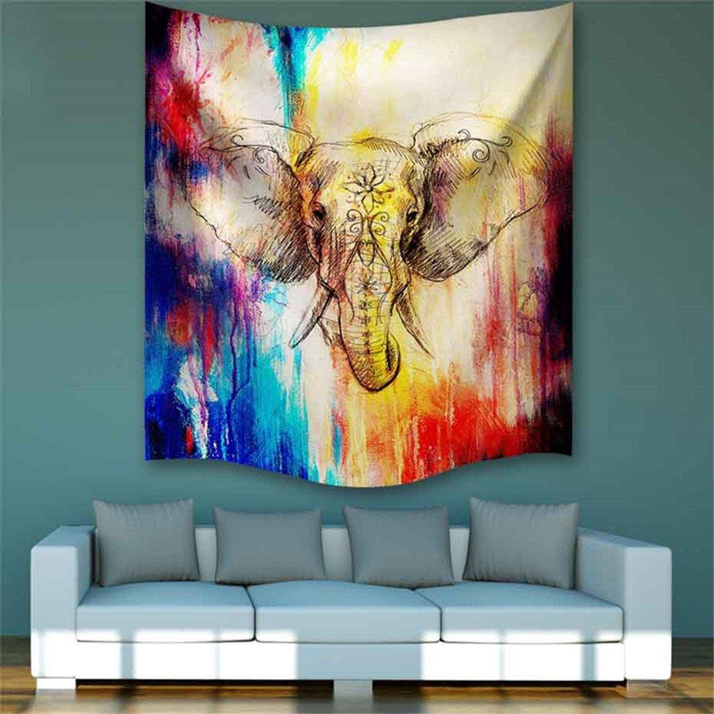 Dremisland wandteppich wandteppich wandteppich wandbehang Abstrakte Elefanten Indische Hippie Wand Dekor Böhmische Mandala Tapisserie wandtuch Tapestry (M 203  153cm(80