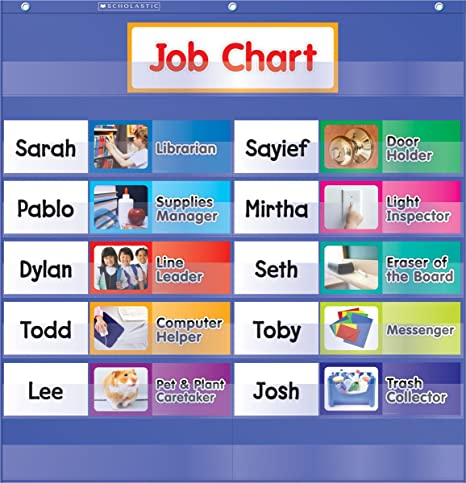 Amazon com class jobs pocket chart job chart for classroom