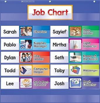 Amazon com class jobs pocket chart job chart for classroom