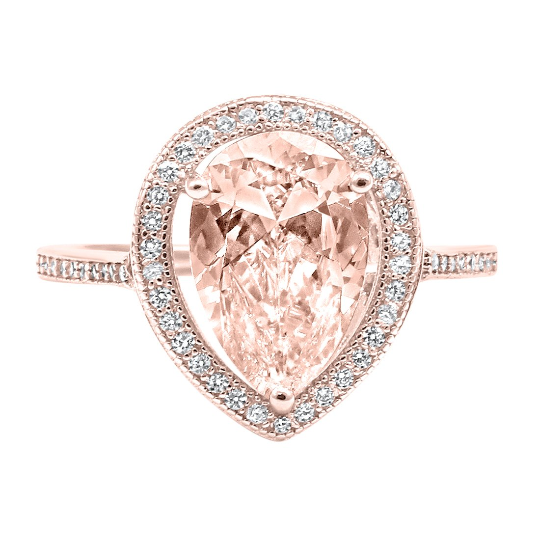 Halo Teardrop Pear Simulated Morganite Bridal Ring Rose Tone Plated 925 Sterling Silver, Size-7
