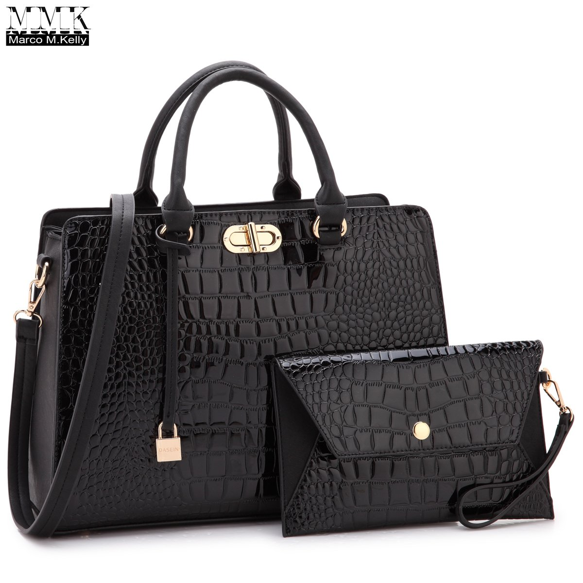 MMK Collection Fashion Stylist Handbag~Medium Size Women Satchel Handbag with Free Matching Clutches~Perfect Handbag Set for woment~Beautiful Satchel and tote handbag(7581) (MA-XL-10-7581-BK)