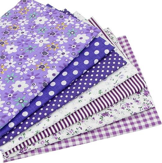 7 piezas 49cm * 49cm tela de algodón púrpura para patchwork,telas para hacer patchwork, telas tilda, retales de telas, tela algodon por metros: Amazon.es: Hogar
