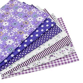 7 piezas 49cm * 49cm tela de algodón púrpura para patchwork,telas para hacer patchwork, telas tilda, retales de telas, tela algodon por metros: Amazon.es: ...