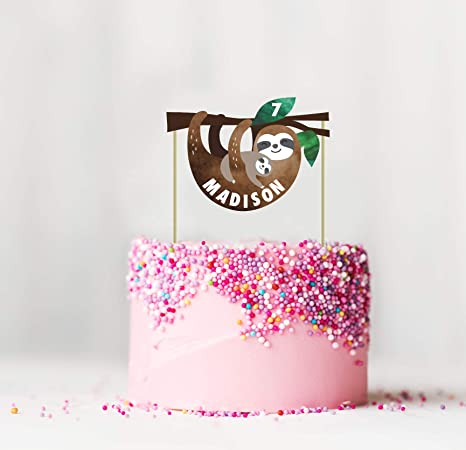 Amazon Com Sloth Party Custom Name Cake Topper Sloth Name Topper Personalized Sloth Birthday Cake Topper Baby Shower Cupcake Topper Sloth Birthday Party Decorations Toys Games