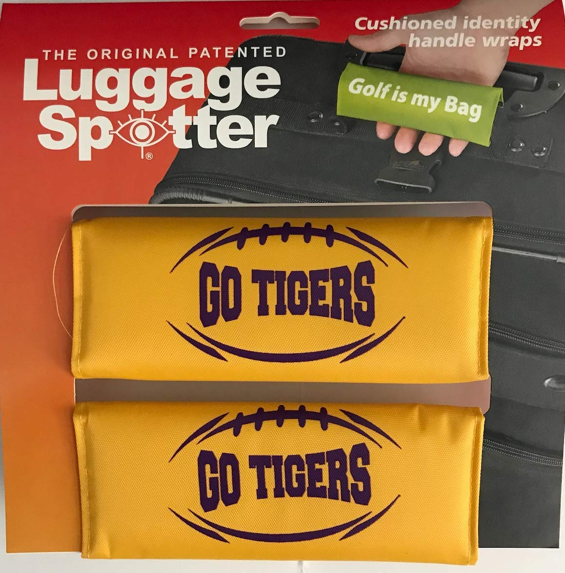 Luggage Spotter LSU Tigers GO Tigers Luggage Locator/Handle Grip/Luggage Grip/Travel Bag Tag/Luggage Handle Wrap 2-PK by Luggage Spotter