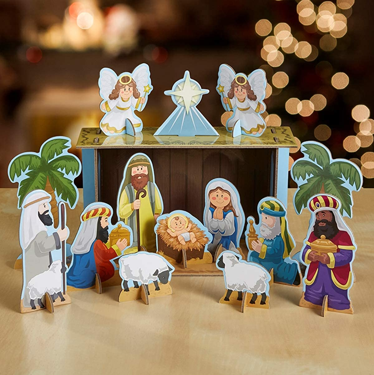 Autom Chipboard 23 Piece Christmas Tabletop Manger Nativity Set