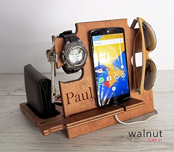 Personalized gift, Docking Station, Gift for Him, Charging Station, iPhone  dock,