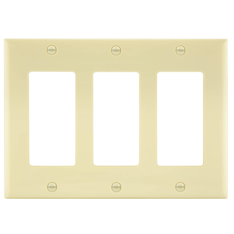 Enerlites 8833-LA 3-Gang Decorator/GFCI Rocker Wall Plate, Standard ...