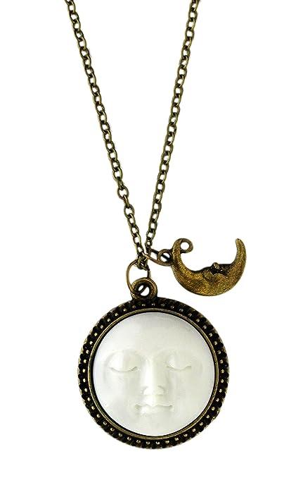 d2e18aa36248 Miss Lovie Mujer Cadena Vintage Collar con Colgante Luna Y Sol Cara ...