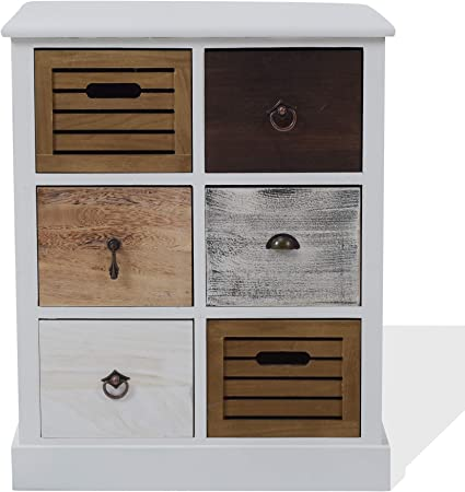 Rebecca Mobili Cajonera Mueble Baño 6 Cajones Madera Paulownia MDF Blanco Marrón Gris Beige Vintage Dormitorio Pasillo - 68 x 56 x 27 cm (A x AN x FON) - Art. RE4615: Amazon.es: Hogar